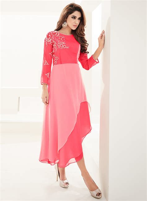 Pink Layered Dress by Buy Coral Pink Georgette Layered Dress Dresses And Gown
