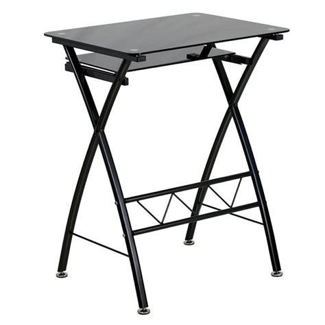 tempered glass computer desk in black nan cp 60 gg