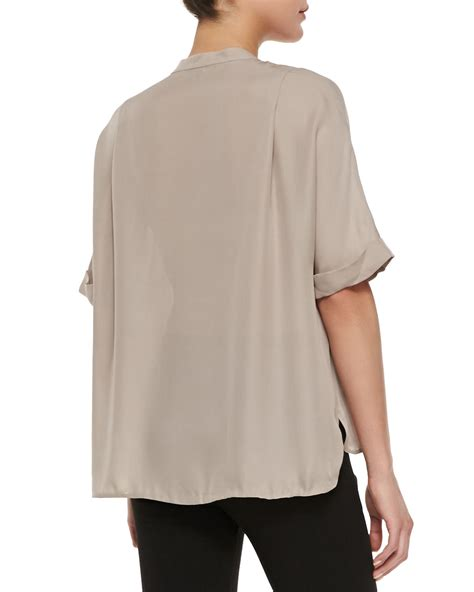 contrast trim sleeve blouse lyst vince contrast trim half sleeve blouse in