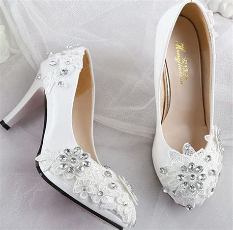 Wedding Shoes Womens by Lace Rhinestones Wedding Shoes For White Fashion