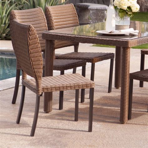 wicker outdoor dining table rattan dining chairs presenting modern rusticity for
