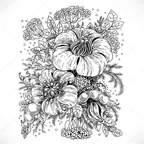 immagini in bianco e nero di fiori disegno fantasia in bianco e nero di fiori e foglie di