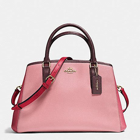 Coach Margot Oxblood coach f57497 small margot carryall in geometric colorblock crossgrain leather imitation gold