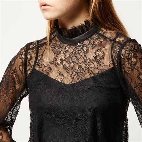 High Neck Lace Top black high neck lace blouse fashion ql