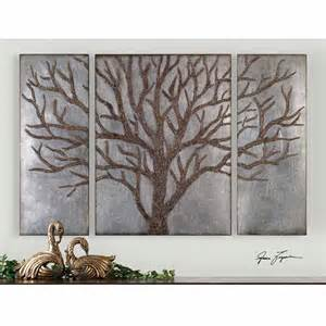 silver and bronzed tree of wall rustic retreat