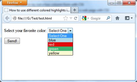 css tutorial with asp net how to use different colored highlights in a select menu