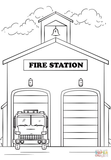 fire station clipart black and white letters