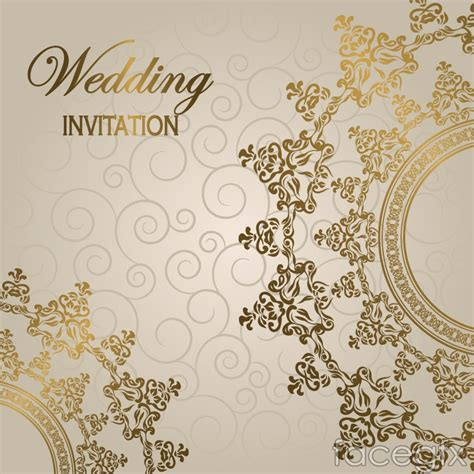 free vector template wedding card gorgeous european wedding invitation card vector