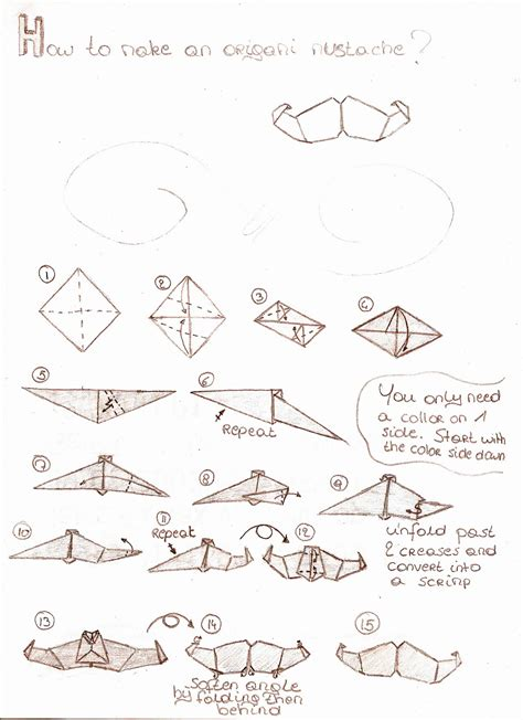 How To Make A Paper Beard - mustache origami by eeuhtje on deviantart