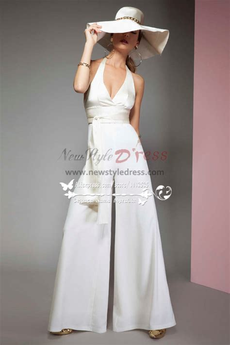 sexy halter deep  neck bridal jumpsuits  chiffon cape  wedding wps