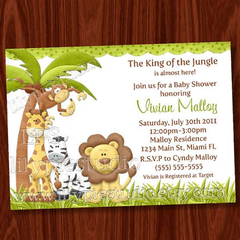 8 Best Images Of Jungle Theme Invitations Free Printable Printable Jungle Theme Baby Shower Safari Invitation Template Free
