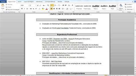 Modelo Curricular De Y Taba De Como Fazer Um Curriculo Como Fazer Um Curriculo