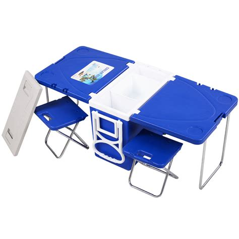 multi function rolling cooler picnic table w 2 chairs