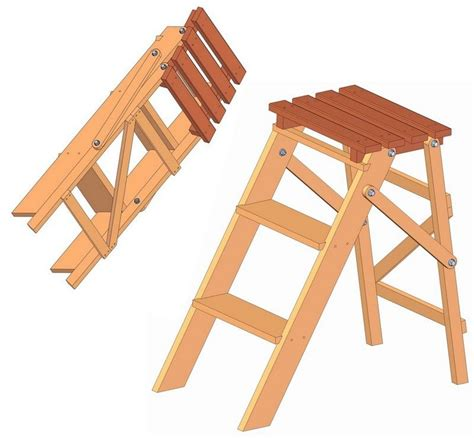 folding step ladder plan diy ladder woodworking