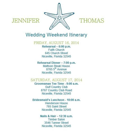destination wedding itinerary template 1000 ideas about wedding itineraries on