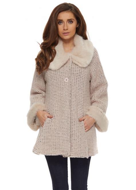short swing coat j l paris coat pink beige short swing coat with faux