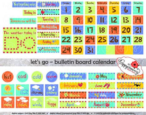 calendar template for bulletin board let s go bulletin board calendar clipart set 300 dpi