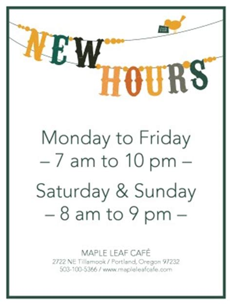 business hours template word business hour sign restaurant flyer