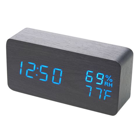 multifunction digital led wood alarm clock voice