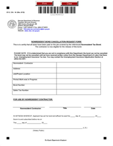 bond cancellation letter format form st c 214 14 nonresident bond cancellation request