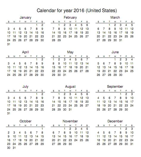 2016 Calendar Printable Free 2016 Calendar Printable One Page Activity Shelter