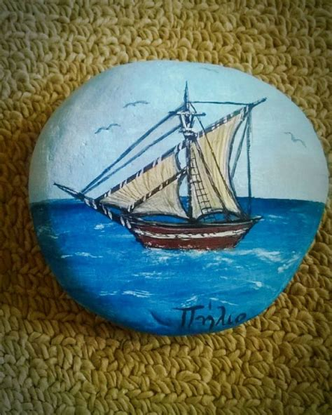 pebble art fishing boat 751 best images about pebbles and stones boats on