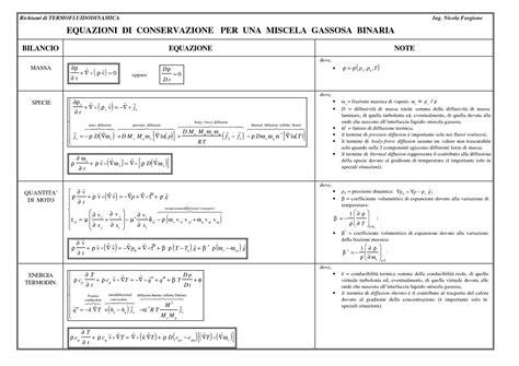 dispense impianti industriali equazioni di conservazione di un fluido monofase dispense