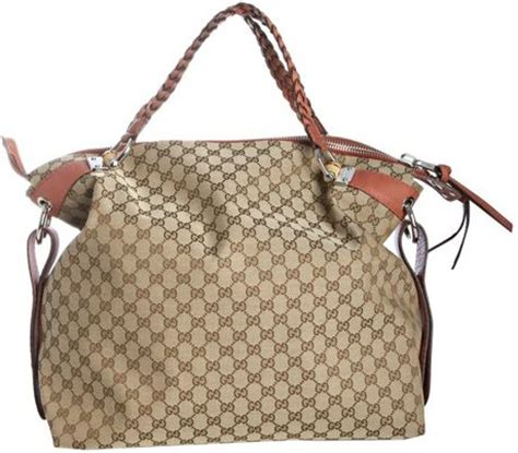 Gucci Travel Tote by Gucci Beige Gg Canvas Bamboo Bar Large Travel Tote In