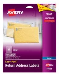 Avery Template 18695 by Avery Easy Peel Clear Return Address Labels