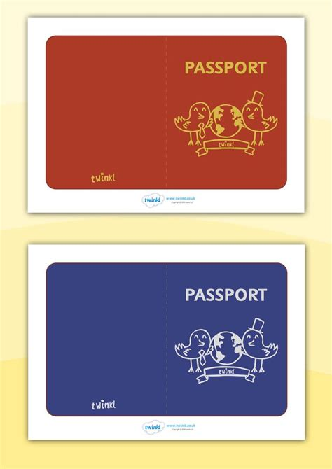pretend passport template twinkl resources gt gt general passport templates