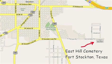 map of fort stockton texas txgenweb pecos county texas east hill cemetery
