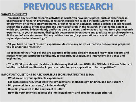Previous Research Experience Essay by Nsf Presentation 1 Introduction