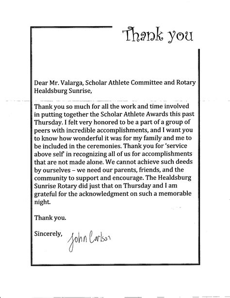 thank you letter award received 2012 scholar athlete awards rotary club of healdsburg