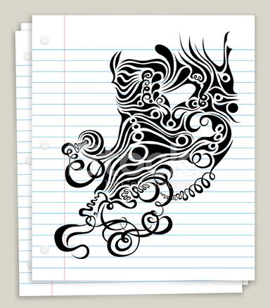 tattoo sketch paper abstract tattoo sketch on white looseleaf paper stock
