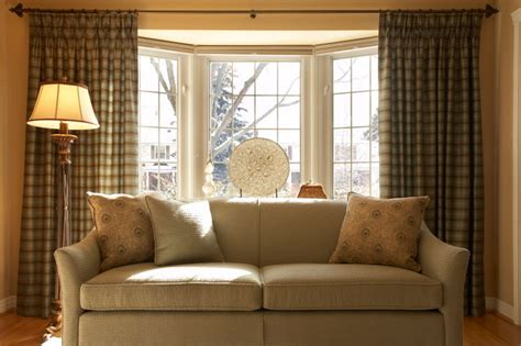 Bay window curtain ideas living room contemporary with bay window beige patterned