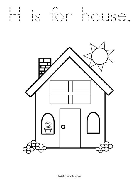 H R Block Coloring Pages by H Is For House Coloring Page Tracing Twisty Noodle