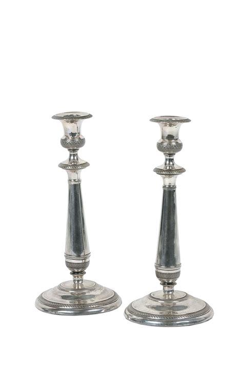 candelieri in argento coppia di candelieri in argento punzoni mauriziani