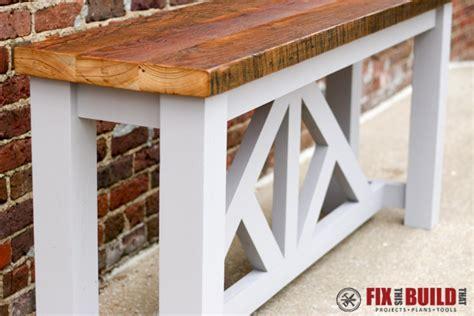 diy sofa table plans diy truss sofa table fixthisbuildthat