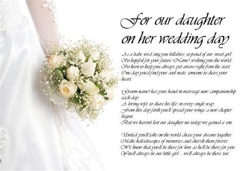 on this the day of my daughters wedding personalised poem poetry for my on