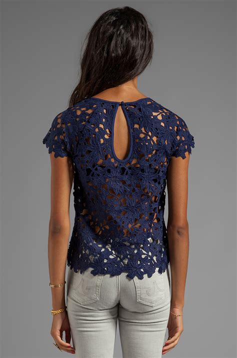 Blue Lace Top lyst dolce vita quinch floral heavy lace top in navy in blue