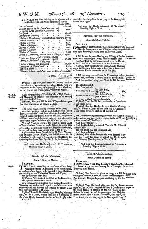 section 179 history house of commons journal volume 11 27 november 1694
