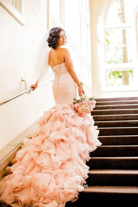 gorgeous blush strapless ruched mermaid wedding dress