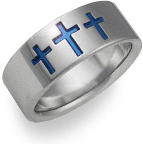 Blue Titanium Wedding Bands   ApplesofGold.com