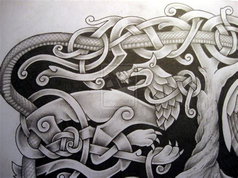 viking art tattoo designs norse mythology design fenrir detail by