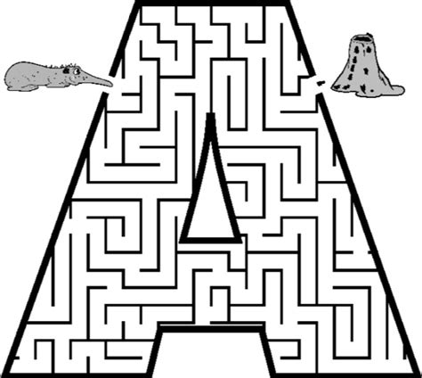 printable mazes shapes letter a printable maze coloring book