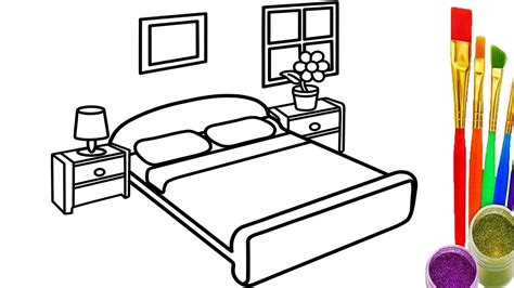 how to draw bedroom learn colors for kids with draw bedroom coloring pages how