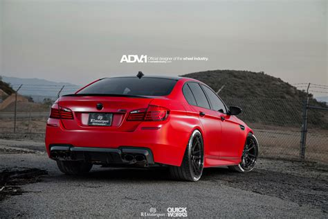 matte bmw matte red bmw f10 m5 with adv 1 wheels
