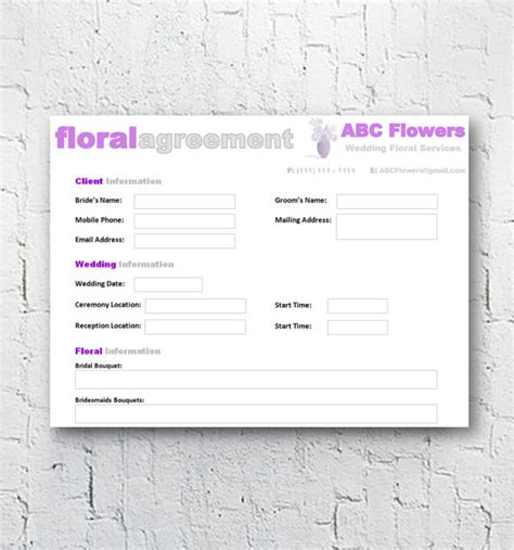 Florist Bridal Wedding Agreement Floral Business Contract Template Editable Printable Word Florist Contract Template