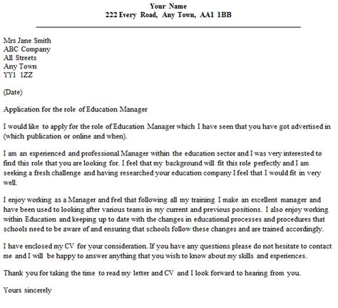 cover letter for education education manager cover letter exle icover org uk