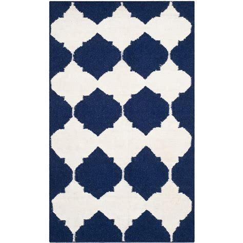 2 6 x 4 rug safavieh dhurries navy ivory 2 ft 6 in x 4 ft area rug dhu624d 24 the home depot